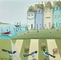 Chatter Pie by Rebecca Lardner - Original Painting on Box Canvas sized 12x12 inches. Available from Whitewall Galleries